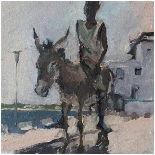 Boy on a donkey | 40 x 40 cm | Öl/Lnw | 2011
